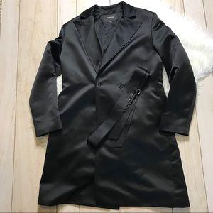 Express Black Satin Lightweight Trench Coat